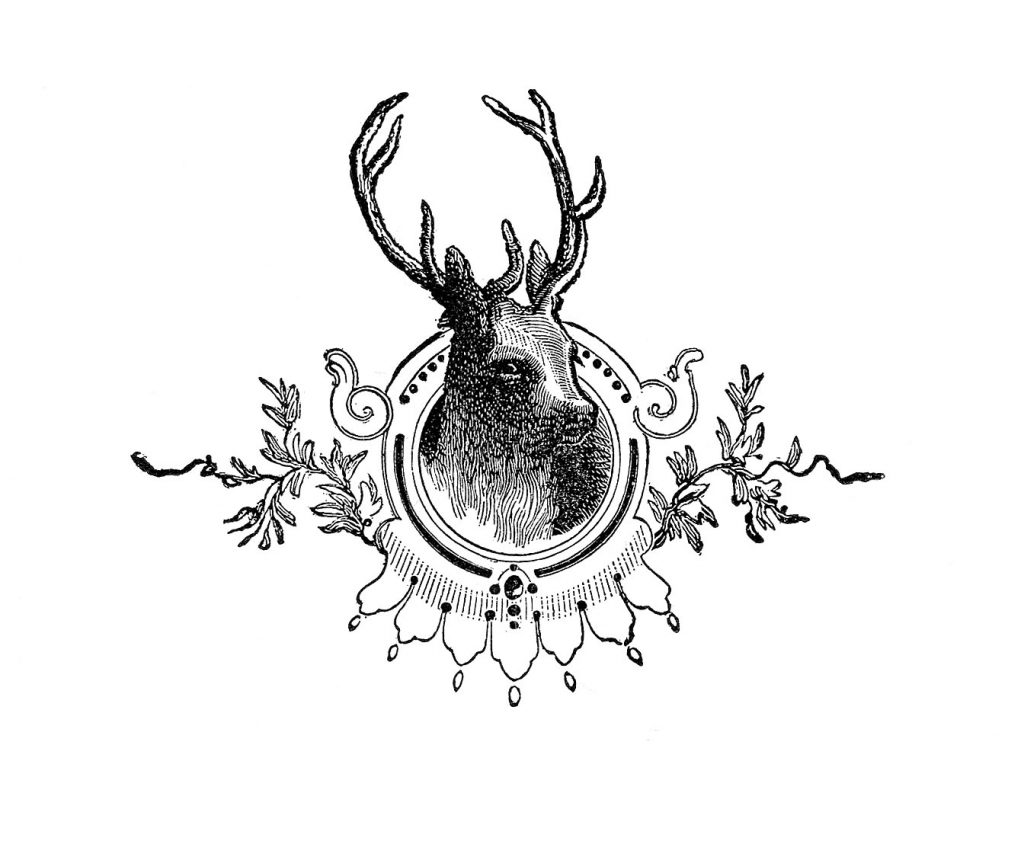 deer-graphicsfairy004bw